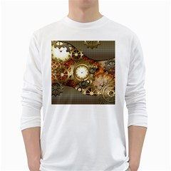 Steampunk, Wonderful Steampunk Design With Clocks And Gears In Golden Desing White Long Sleeve T-Shirts by FantasyWorld7