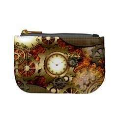 Steampunk, Wonderful Steampunk Design With Clocks And Gears In Golden Desing Mini Coin Purses by FantasyWorld7