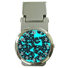 Teal On Black Funky Fractal Money Clip Watches by KirstenStar