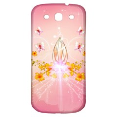 Wonderful Flowers With Butterflies And Diamond In Soft Pink Colors Samsung Galaxy S3 S Iii Classic Hardshell Back Case by FantasyWorld7