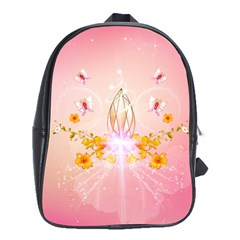 Wonderful Flowers With Butterflies And Diamond In Soft Pink Colors School Bags (xl)  by FantasyWorld7