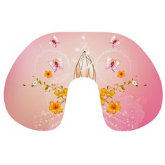 Wonderful Flowers With Butterflies And Diamond In Soft Pink Colors Travel Neck Pillows