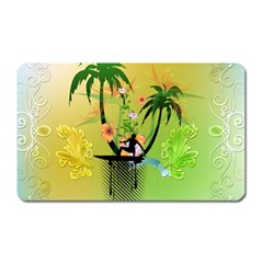 Surfing, Surfboarder With Palm And Flowers And Decorative Floral Elements Magnet (rectangular) by FantasyWorld7
