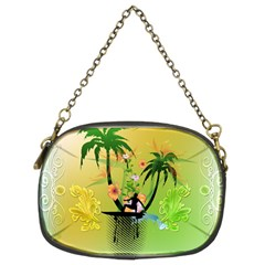 Surfing, Surfboarder With Palm And Flowers And Decorative Floral Elements Chain Purses (Two Sides)  by FantasyWorld7