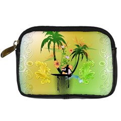 Surfing, Surfboarder With Palm And Flowers And Decorative Floral Elements Digital Camera Cases by FantasyWorld7