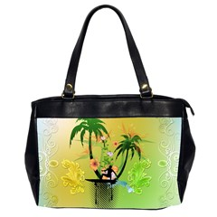 Surfing, Surfboarder With Palm And Flowers And Decorative Floral Elements Office Handbags (2 Sides)  by FantasyWorld7