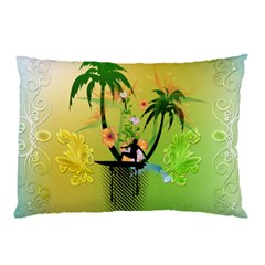 Surfing, Surfboarder With Palm And Flowers And Decorative Floral Elements Pillow Cases (two Sides)