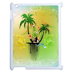 Surfing, Surfboarder With Palm And Flowers And Decorative Floral Elements Apple iPad 2 Case (White) by FantasyWorld7