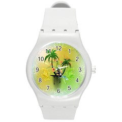 Surfing, Surfboarder With Palm And Flowers And Decorative Floral Elements Round Plastic Sport Watch (m) by FantasyWorld7