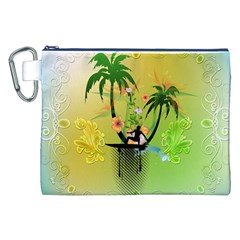 Surfing, Surfboarder With Palm And Flowers And Decorative Floral Elements Canvas Cosmetic Bag (XXL)  by FantasyWorld7