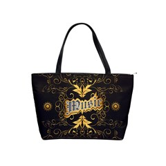 Music The Word With Wonderful Decorative Floral Elements In Gold Shoulder Handbags by FantasyWorld7