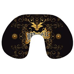 Music The Word With Wonderful Decorative Floral Elements In Gold Travel Neck Pillows by FantasyWorld7