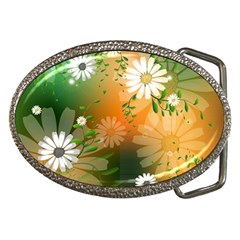 Beautiful Flowers With Leaves On Soft Background Belt Buckles by FantasyWorld7