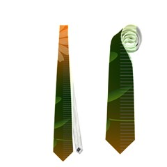 Beautiful Flowers With Leaves On Soft Background Neckties (two Side)  by FantasyWorld7