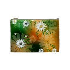 Beautiful Flowers With Leaves On Soft Background Cosmetic Bag (medium)  by FantasyWorld7