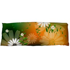 Beautiful Flowers With Leaves On Soft Background Body Pillow Cases Dakimakura (two Sides)  by FantasyWorld7