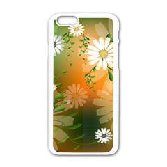 Beautiful Flowers With Leaves On Soft Background Apple Iphone 6/6s White Enamel Case by FantasyWorld7