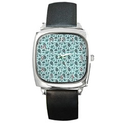 Vintage Paisley Aqua Square Metal Watches by MoreColorsinLife