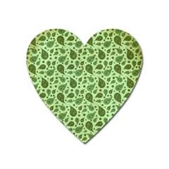 Vintage Paisley Green Heart Magnet by MoreColorsinLife