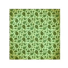 Vintage Paisley Green Small Satin Scarf (square)  by MoreColorsinLife