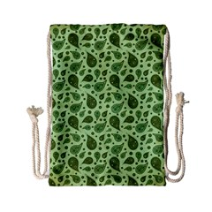 Vintage Paisley Green Drawstring Bag (Small)