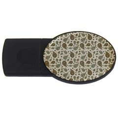 Vintage Paisley Grey Usb Flash Drive Oval (2 Gb)  by MoreColorsinLife