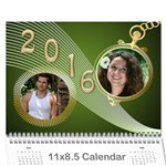 John Styled in Green 2016 Calendar (large Numbers) - Wall Calendar 11  x 8.5  (12-Months)