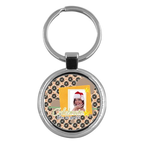 Merry Christmas By M Jan   Key Chain (round)   W07vc3gclp62   Www Artscow Com Front