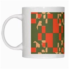 Green Orange Shapes White Mug by LalyLauraFLM