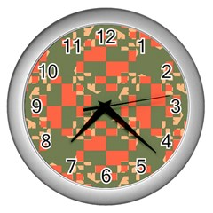 Green Orange Shapes Wall Clock (silver) by LalyLauraFLM