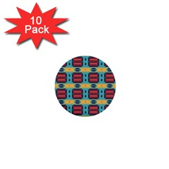 Blue red and yellow shapes pattern 1  Mini Button (10 pack)  by LalyLauraFLM