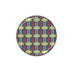 Blue Red And Yellow Shapes Pattern Hat Clip Ball Marker (4 Pack) by LalyLauraFLM