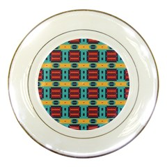 Blue Red And Yellow Shapes Pattern Porcelain Plate by LalyLauraFLM