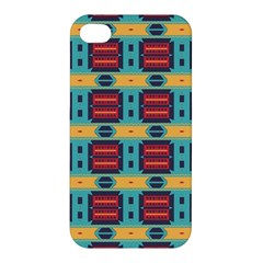 Blue Red And Yellow Shapes Pattern Apple Iphone 4/4s Hardshell Case by LalyLauraFLM