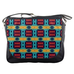 Blue Red And Yellow Shapes Pattern Messenger Bag by LalyLauraFLM