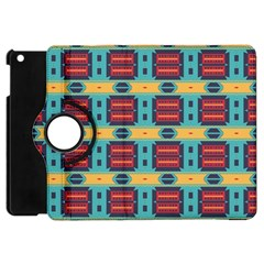 Blue Red And Yellow Shapes Pattern Apple Ipad Mini Flip 360 Case by LalyLauraFLM