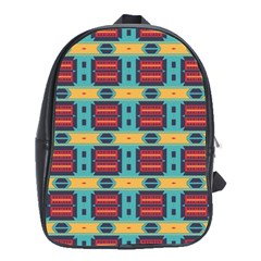 Blue Red And Yellow Shapes Pattern School Bag (xl) by LalyLauraFLM