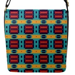 Blue Red And Yellow Shapes Pattern Flap Closure Messenger Bag (s) by LalyLauraFLM