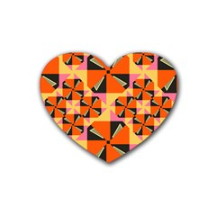 Windmill In Rhombus Shapes Rubber Coaster (heart) by LalyLauraFLM