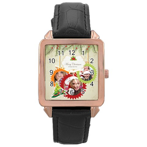 Xmas By Jo Jo   Rose Gold Leather Watch    5vrb0lnvhhcz   Www Artscow Com Front