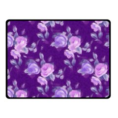 Vintage Roses Purple Double Sided Fleece Blanket (small)  by MoreColorsinLife