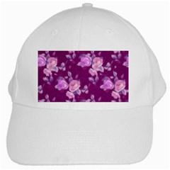 Vintage Roses Pink White Cap by MoreColorsinLife