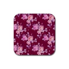 Vintage Roses Rubber Square Coaster (4 Pack)  by MoreColorsinLife