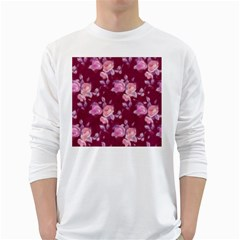 Vintage Roses White Long Sleeve T-Shirts by MoreColorsinLife