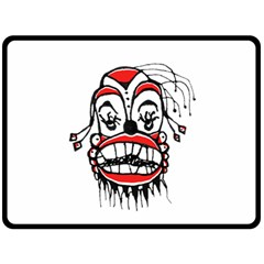 Dark Clown Drawing Double Sided Fleece Blanket (large)  by dflcprints
