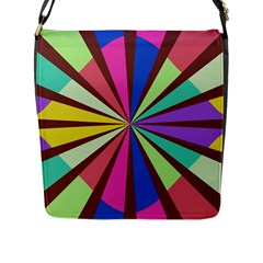 Rays In Retro Colors Flap Closure Messenger Bag (l) by LalyLauraFLM
