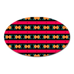 Rhombus And Stripes Pattern Magnet (oval) by LalyLauraFLM