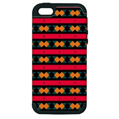 Rhombus And Stripes Pattern Apple Iphone 5 Hardshell Case (pc+silicone) by LalyLauraFLM