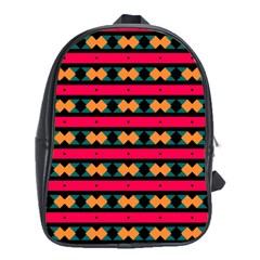Rhombus And Stripes Pattern School Bag (xl) by LalyLauraFLM