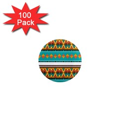 Tribal Design In Retro Colors 1  Mini Magnet (100 Pack)  by LalyLauraFLM